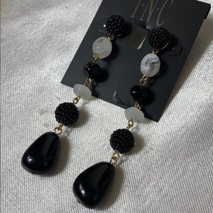 New INC black white stone drop earrings